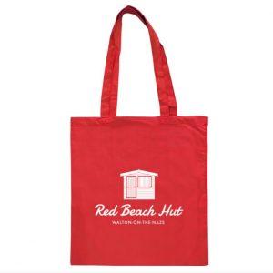 Red Beach Hut tote bag